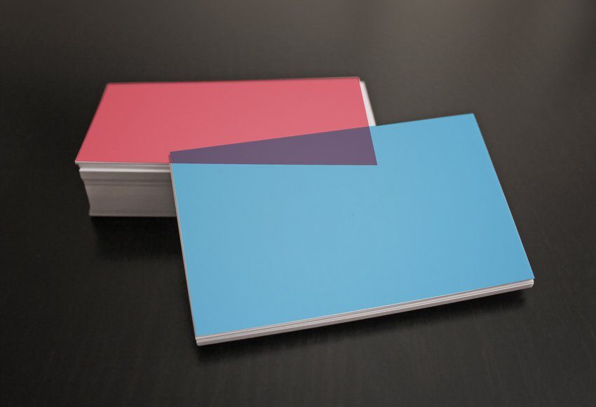 The Front Card blue and Back Card red Business Cards Mockups Templates
