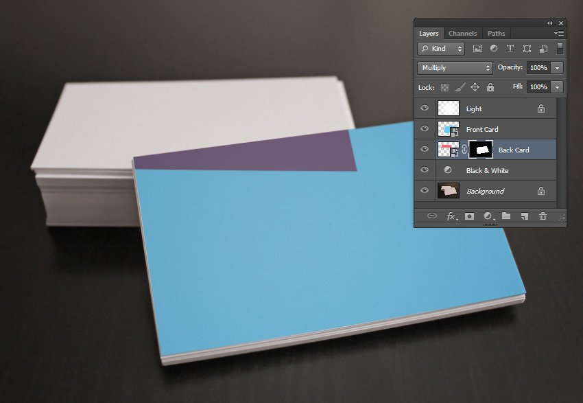 The Layer Mask on the Back Card Layer not inverted according to selection