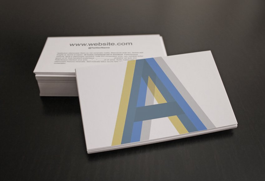 Sample of Business Card Template mockup with blue and yellow custom design