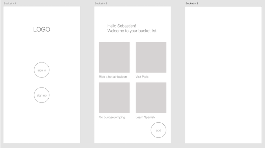 Wireframes for the first two screens in Adobe XD