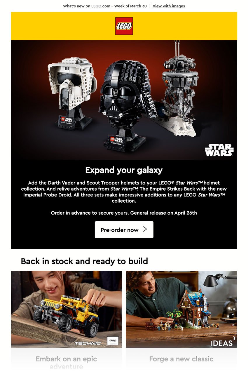 LEGO email, with licensed font, 'Cera Pro Medium' implemented.