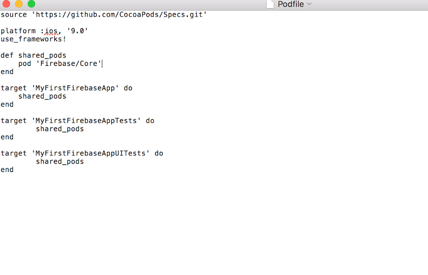 Podfile with Firebase Core