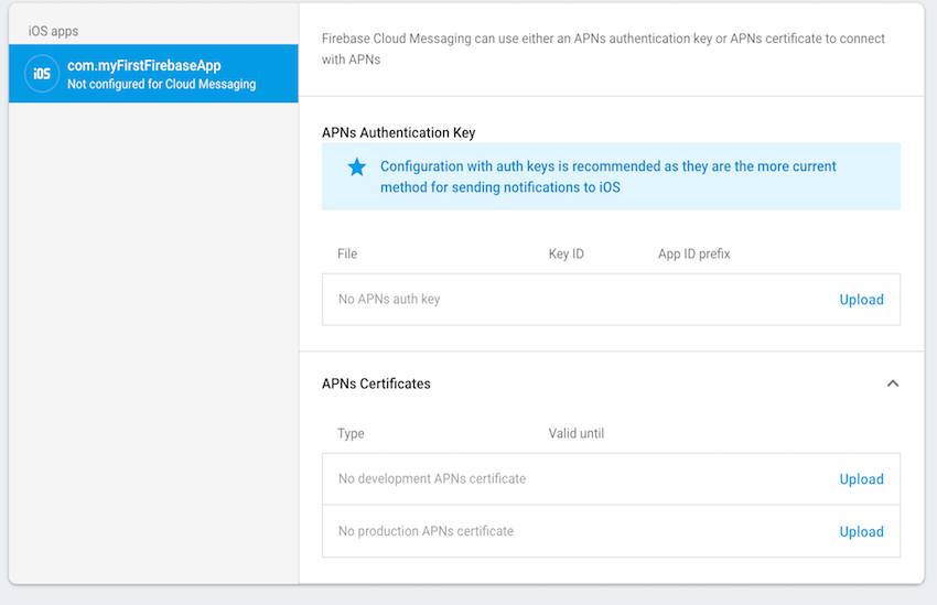 Firebase Cloud Messaging settings for an iOS app