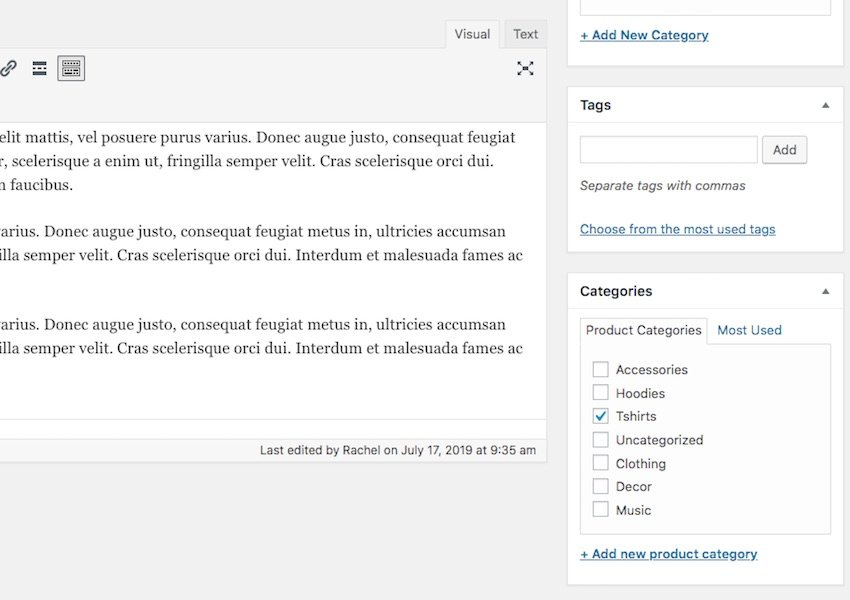 Adding product categories to a  postclassic editor