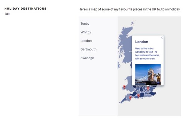 a popover on the map in a page in my site