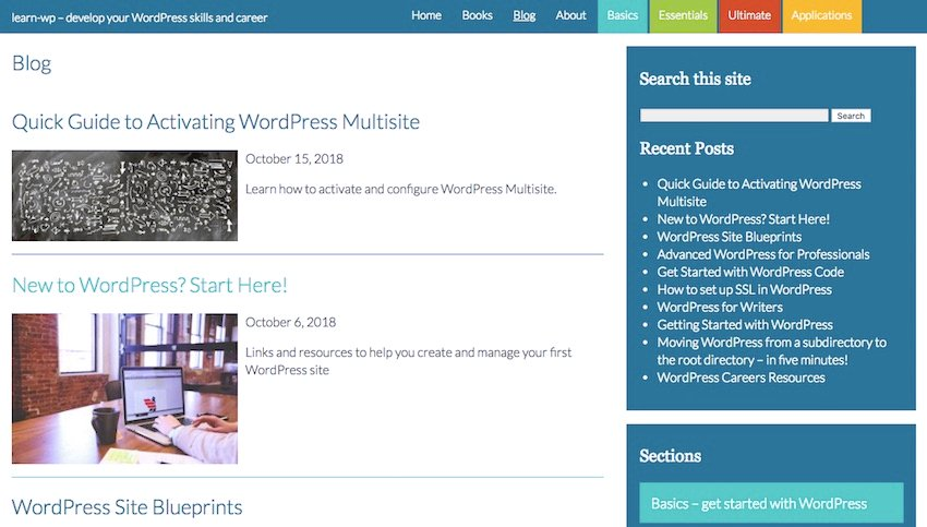 the blog page with cyan styling added to a post from the basics category