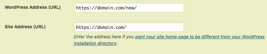 editing the site address
