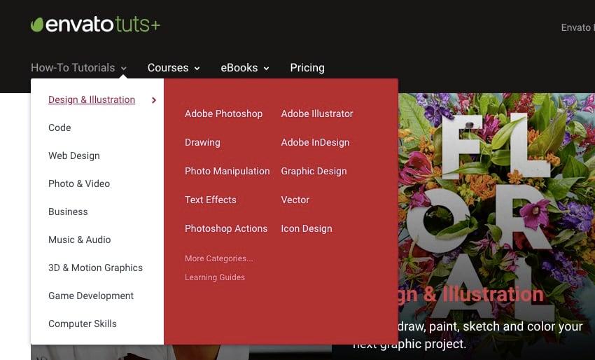 envato tuts site with navigation menu dropdown and mega menu