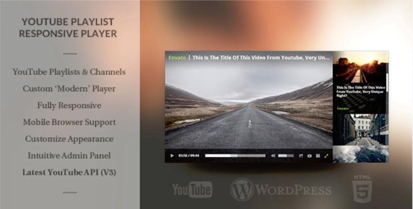 Wordpress Responsive Youtube Playlist Video Player plugin