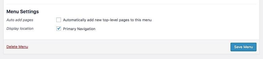 The primary navigation checkbox in the Menus admin screen in WordPress