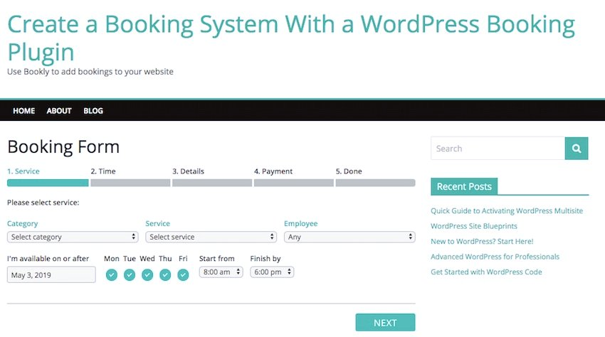 the booking form page with our Bookly booking form
