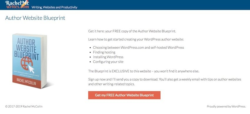 my landing page with a button to sign up to my newsletter and no other links