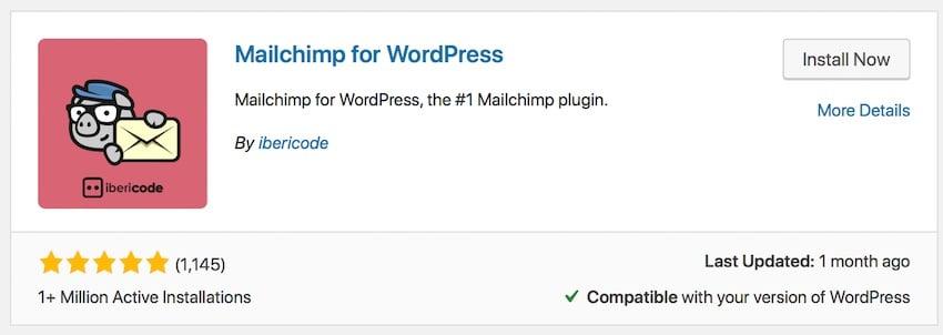installing the mailchimp plugin