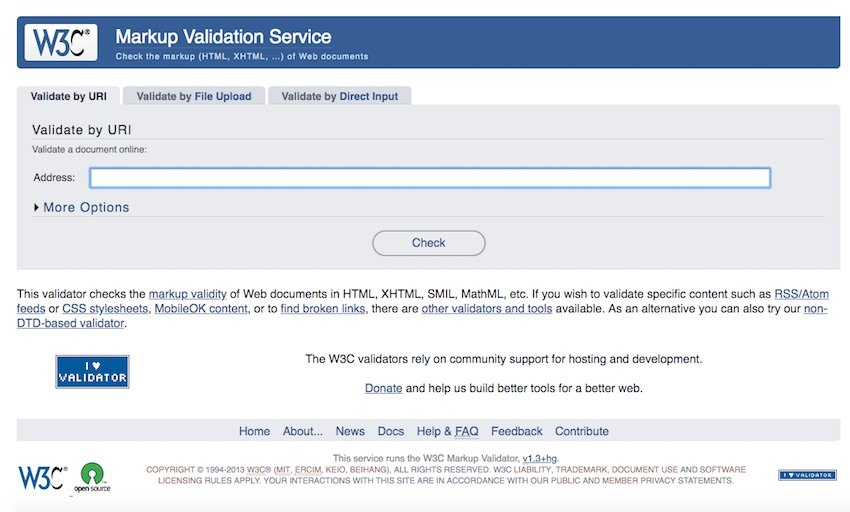 The W3C validator tool