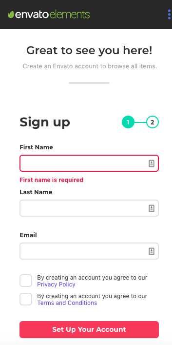 envato elements signup form - mobile