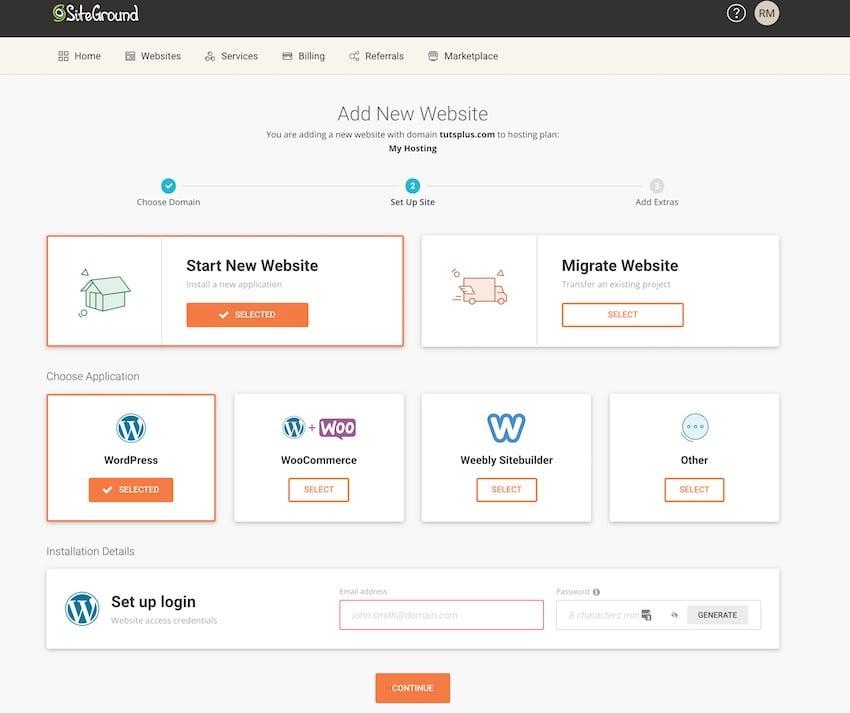 siteground add new website