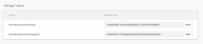migration tokens