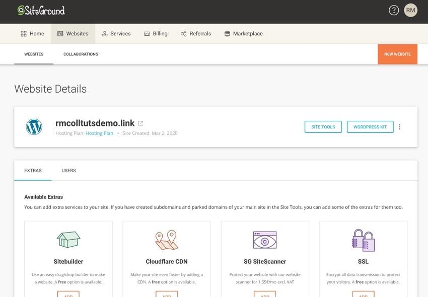 Websites screen in Siteground