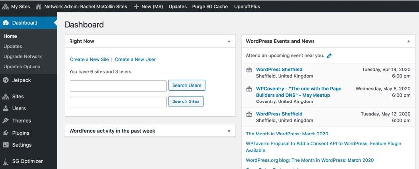 WordPress network admin dashboard