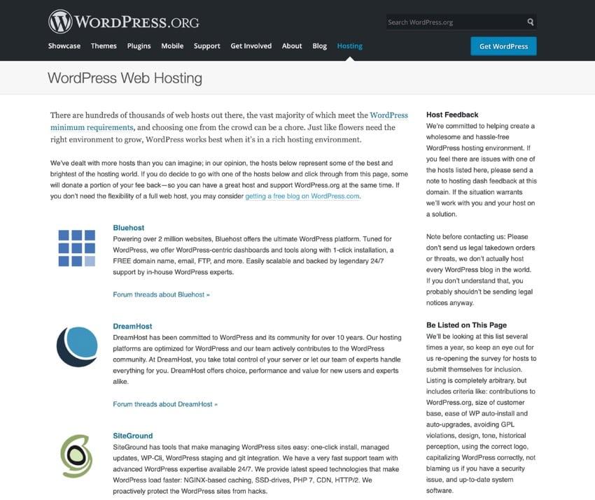 hosting recommendations on wordpressorg
