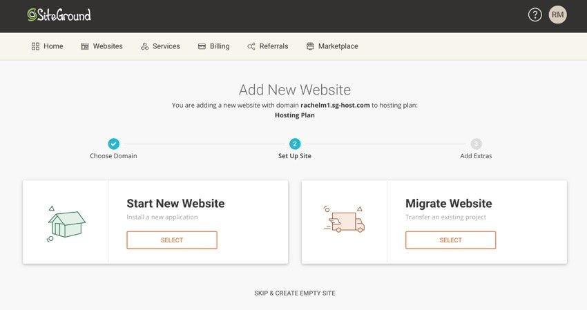 Add New Website screen