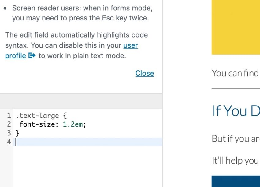 CSS in customizer