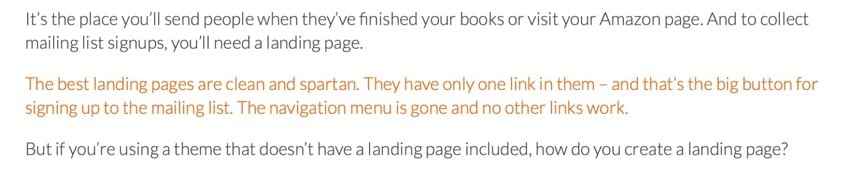 orange text in live site