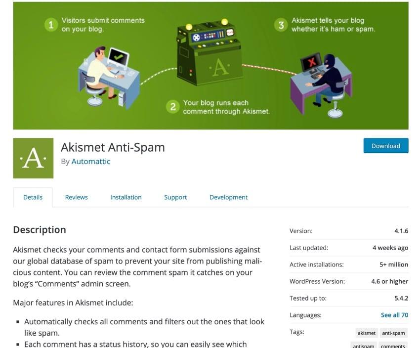 Akismet in plugin directory