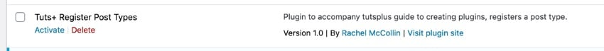 Our plugin on the Plugins screen