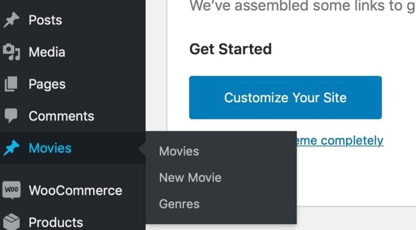 custom taxonomy in admin menu