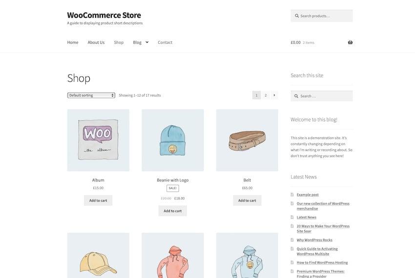 Default shop page