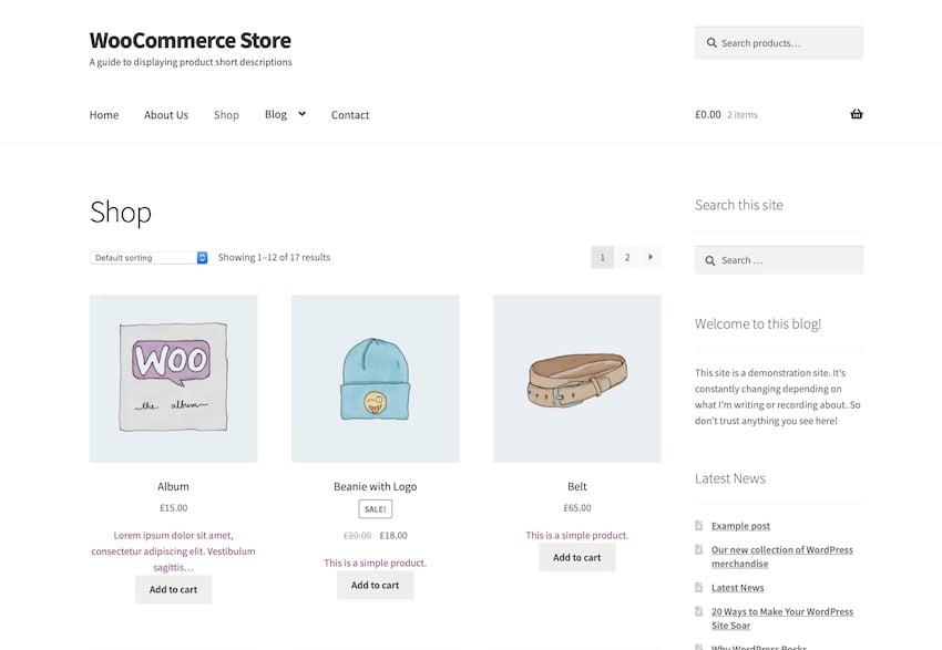 shop page with shorter description