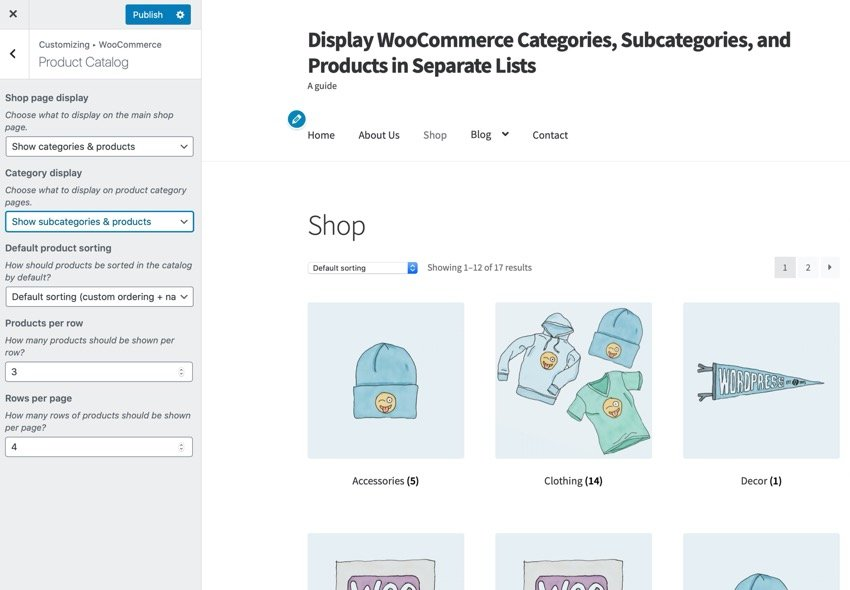 Displaying categories and products in the Customizer