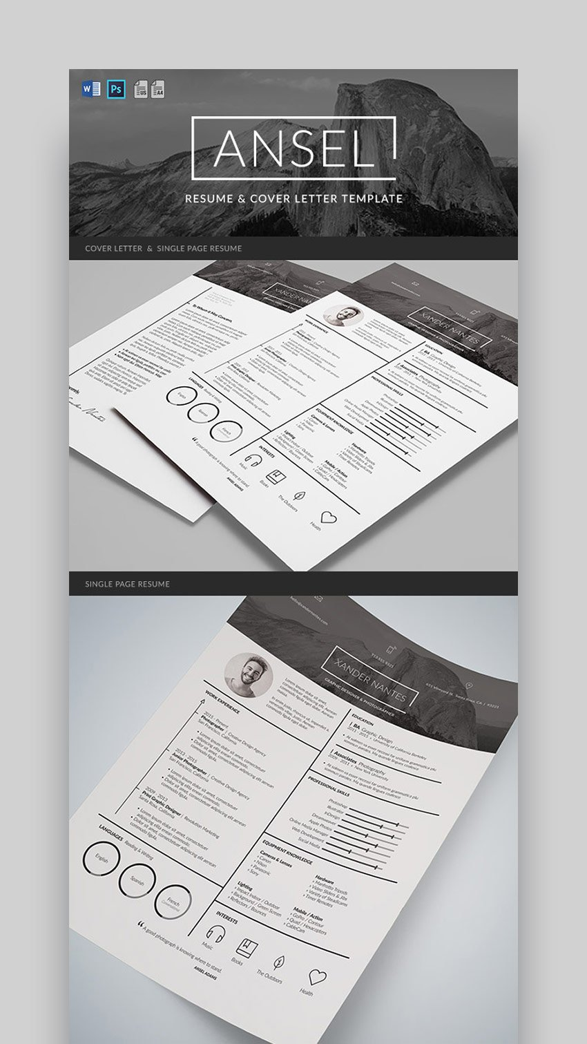 Ansel - Graphic Resume and Cover Letter Template