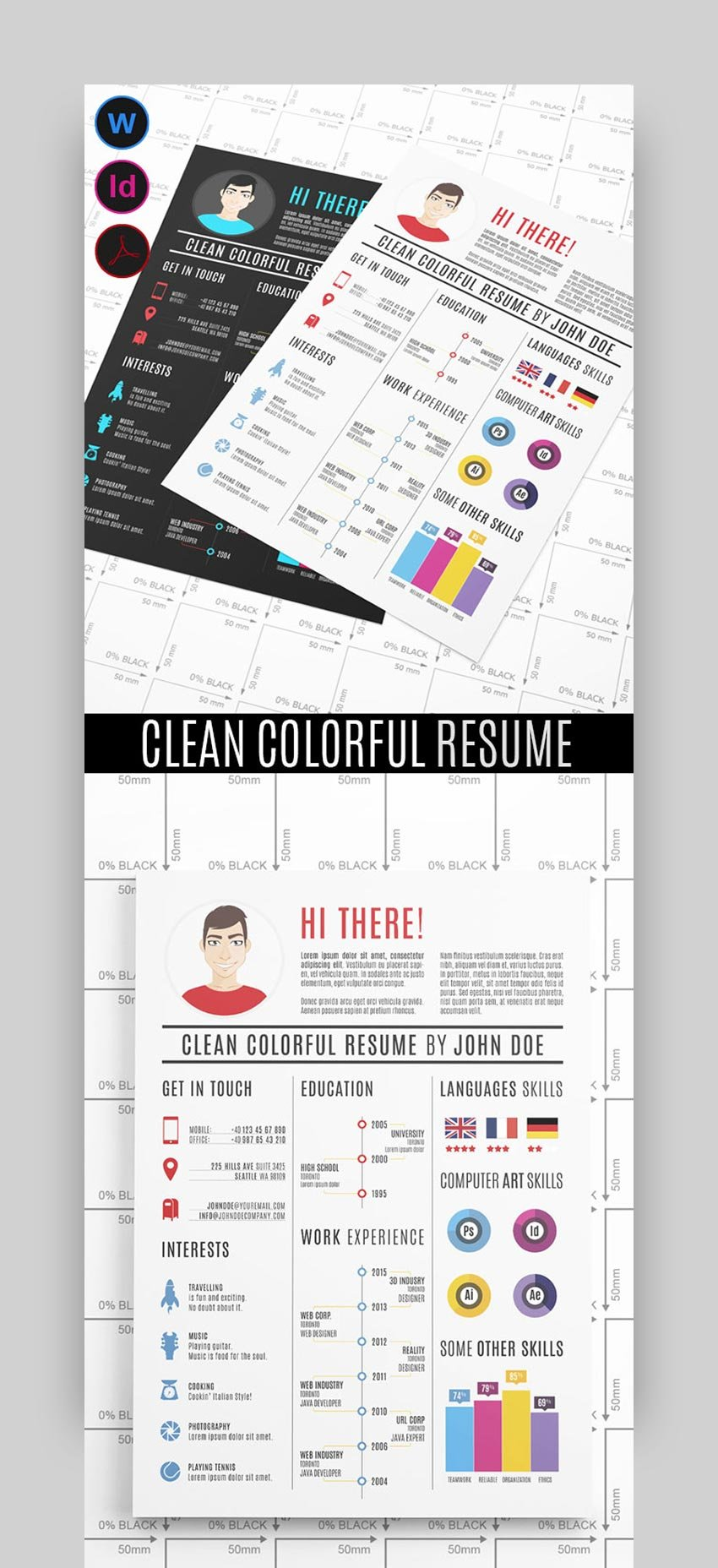 Clean Colorful Resume Template