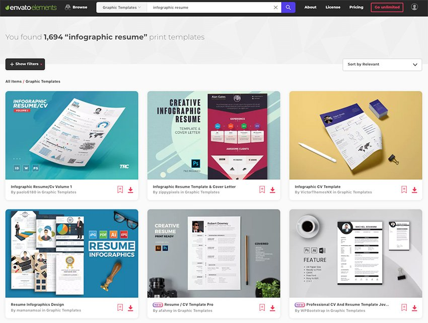 Hundreds of creative infographic resume templates on Envato Elements