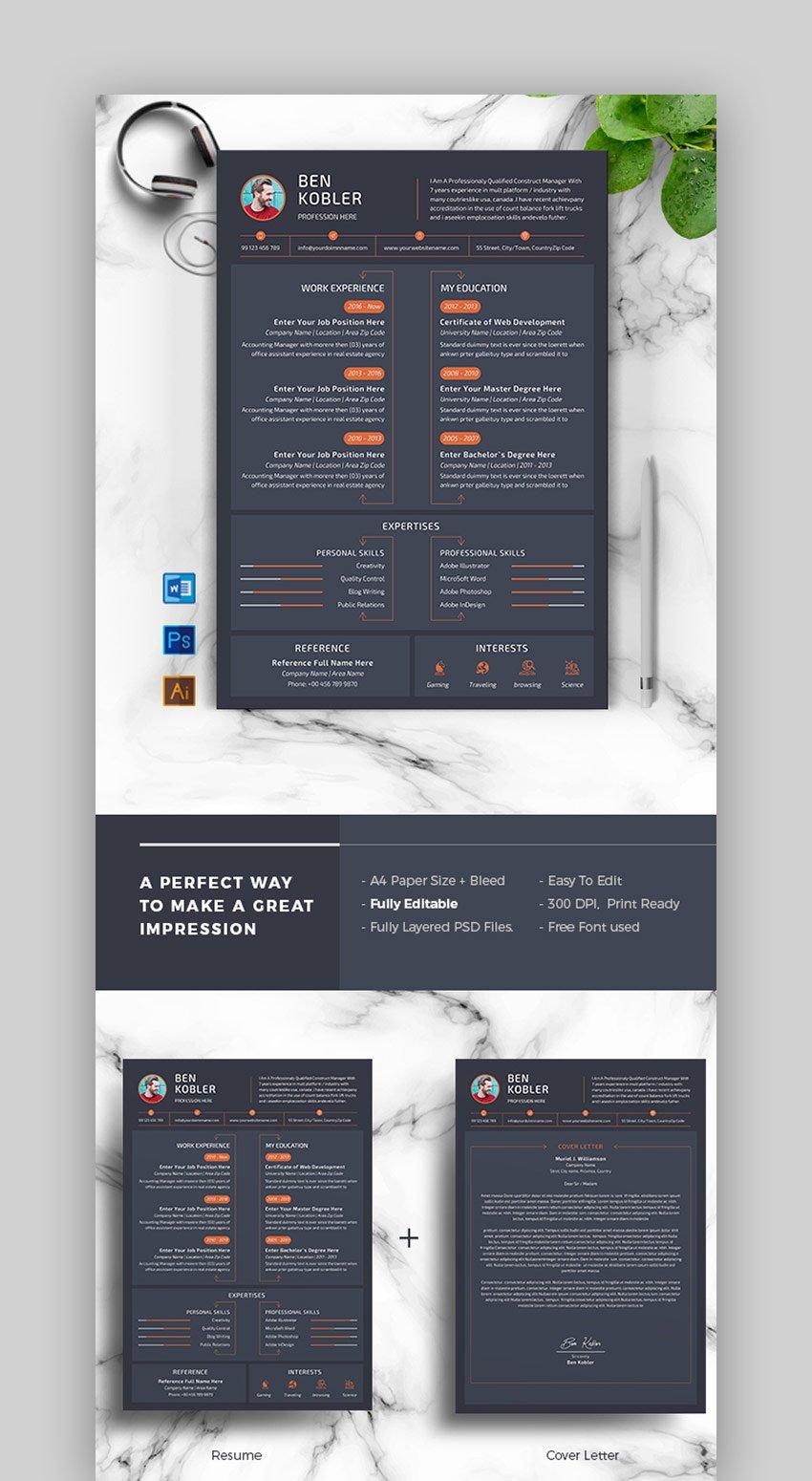 Dark - Infographic Cover Letter  Resume