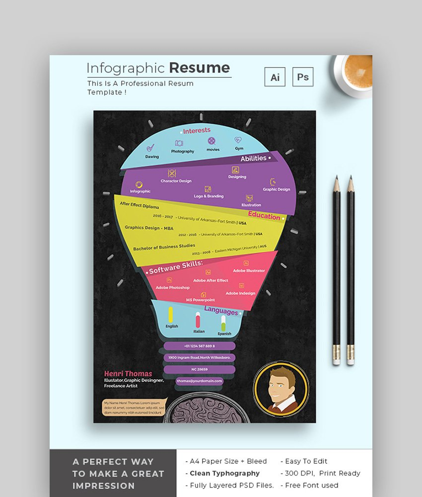 Light Bulb - Graphical CV Template