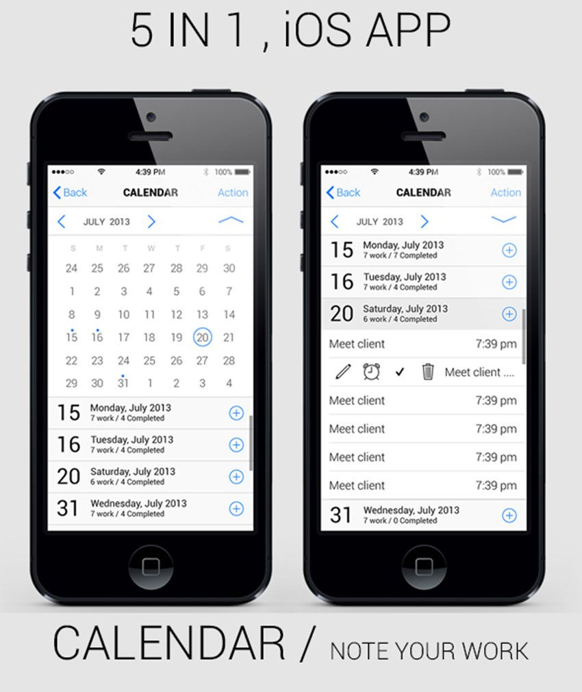 5-in-1 IOS App GUI Kit Retina