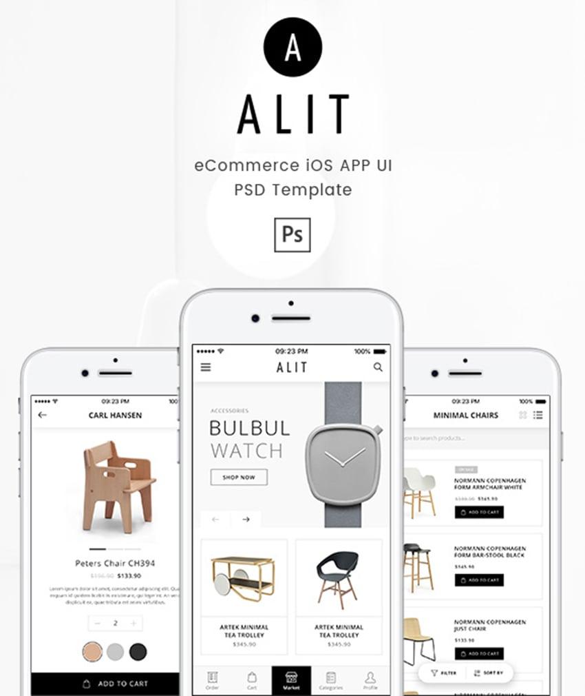 Alit - Minimalist eCommerce PSD UI for iOS App