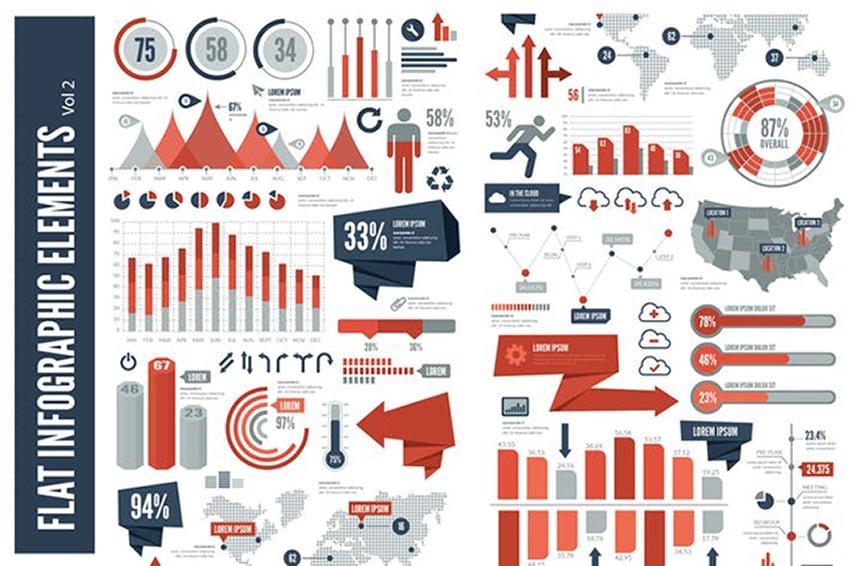 Flat Elements Infographics Design Inspiration