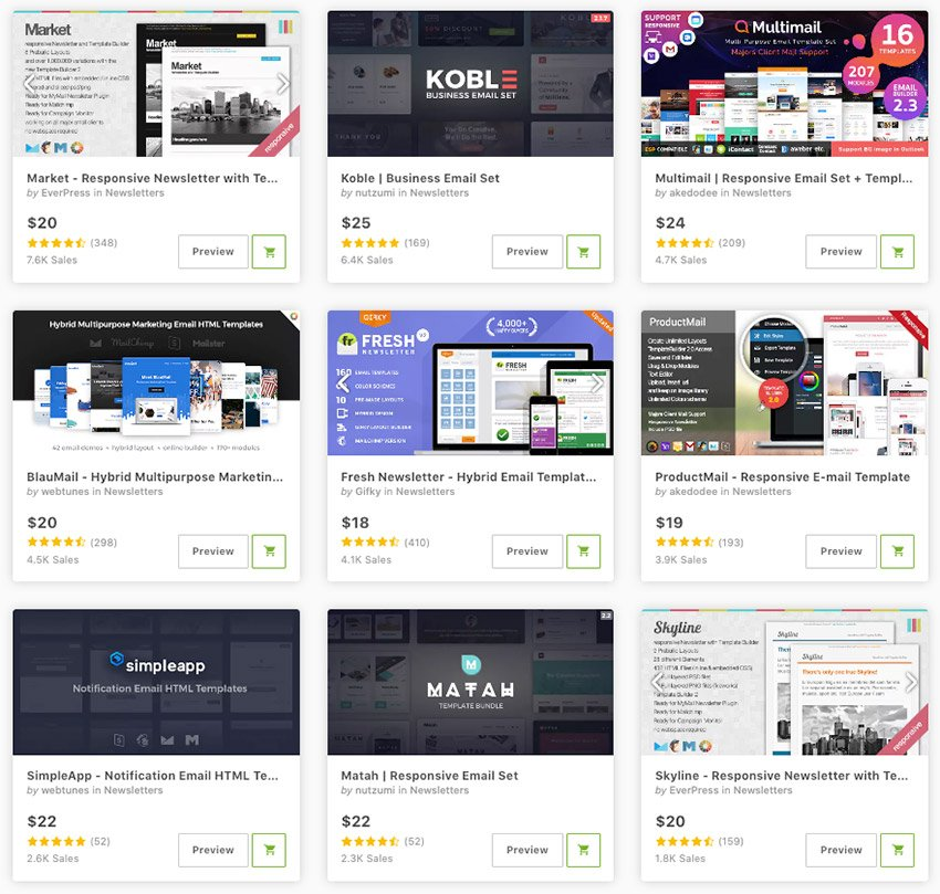 Best Responsive Email Templates for 2021 available for sale on Envato Market