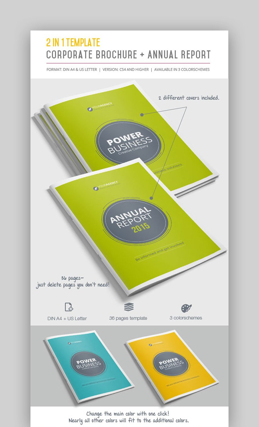 2-in-1 InDesign Corporate Brochure Templates  Annual Report