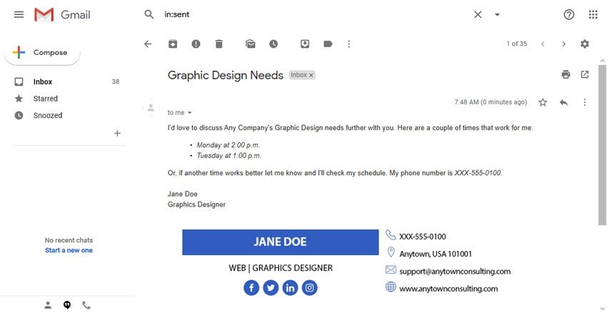 Here is an example of a formal email closing with a signature template
