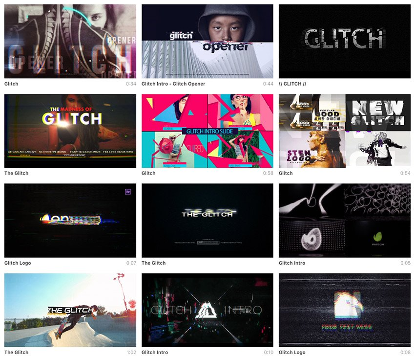 VideoHive glitch presets for text and video available for sale on Envato Market