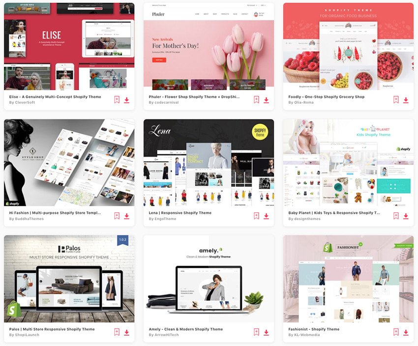Top Shopify Themes on Envato Elements 2019