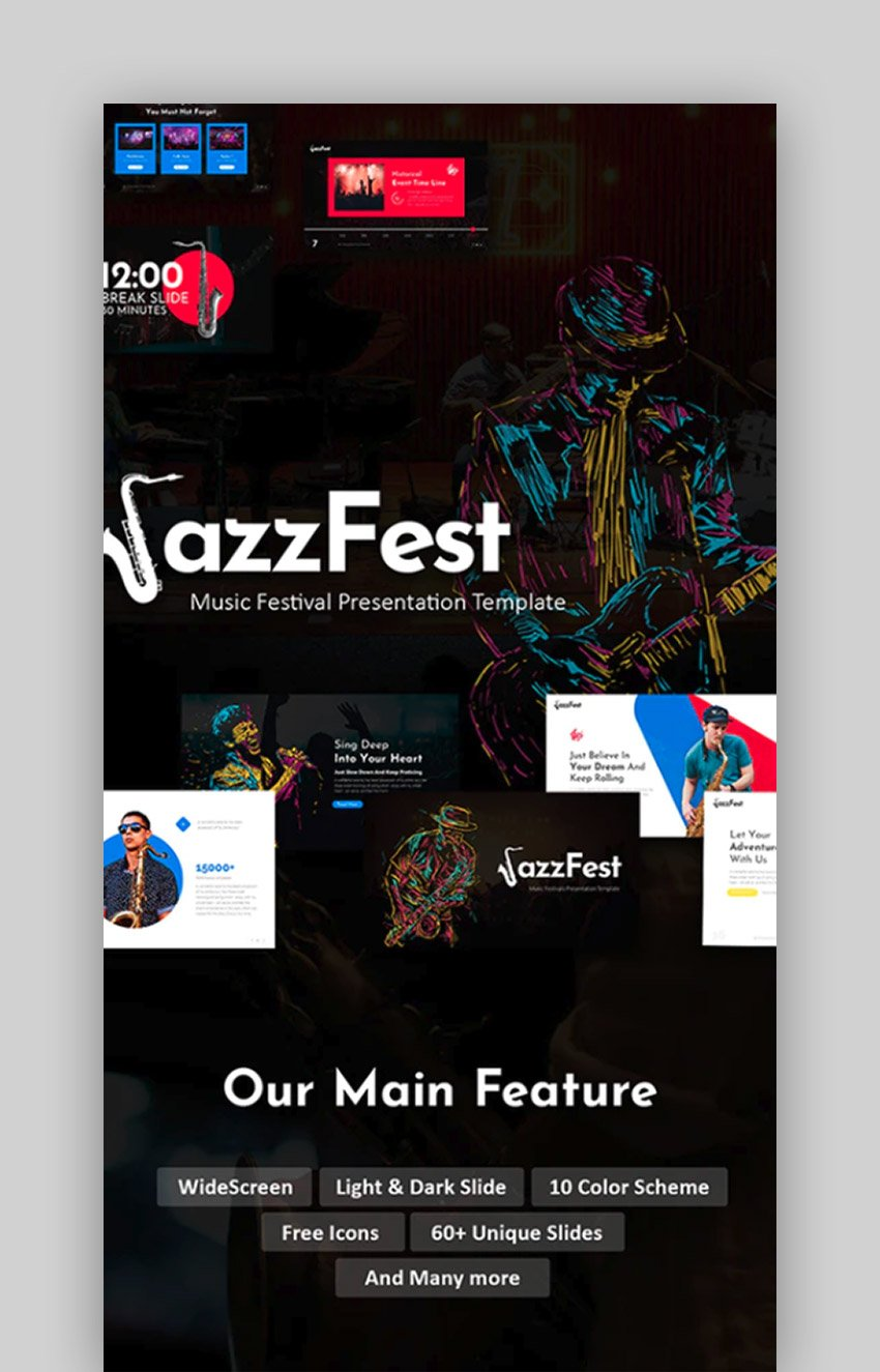 JazzFest - Music Event PowerPoint Template