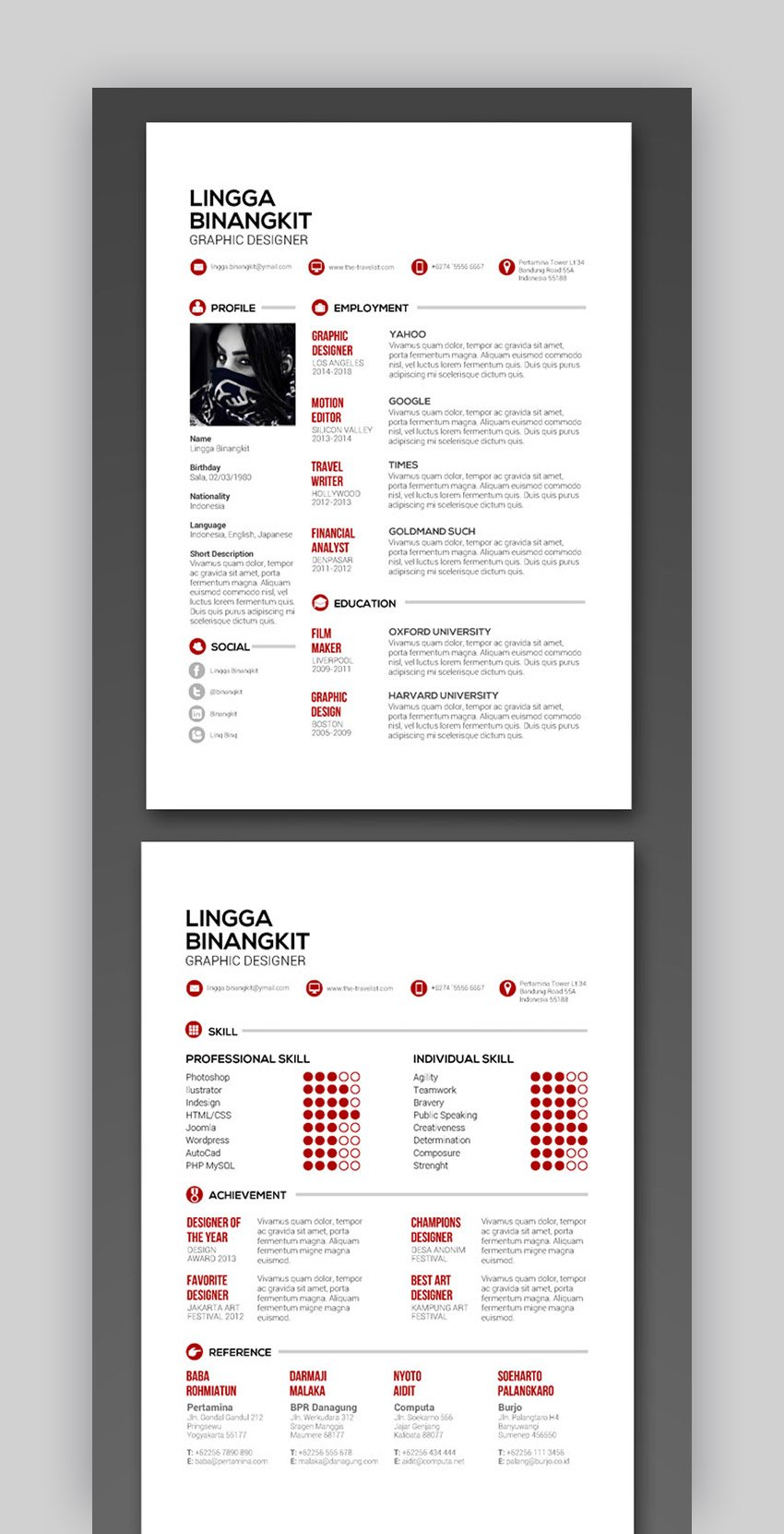 Sewon Clean InDesign CV Template - Vol 5