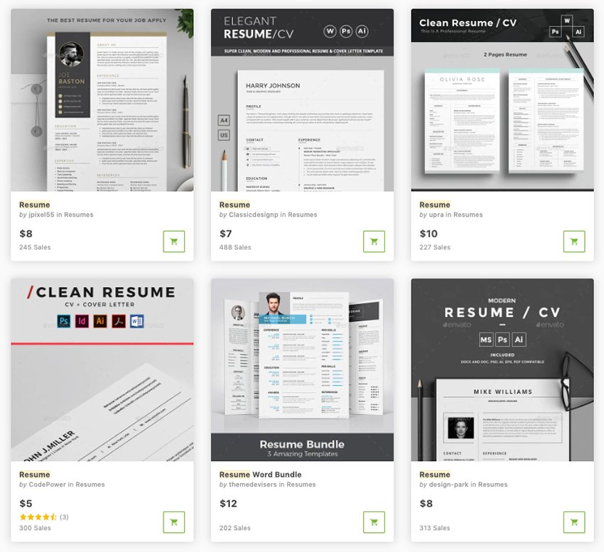 Best Contemporary Resume Format on GraphicRiver in 2020