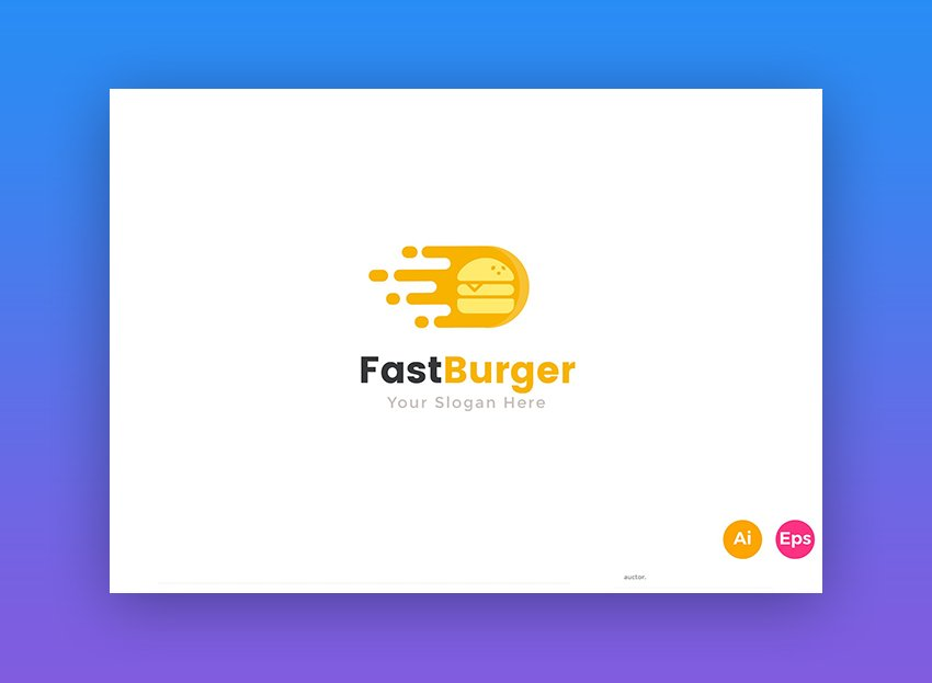 Fast Delivery Burger food Logo Template